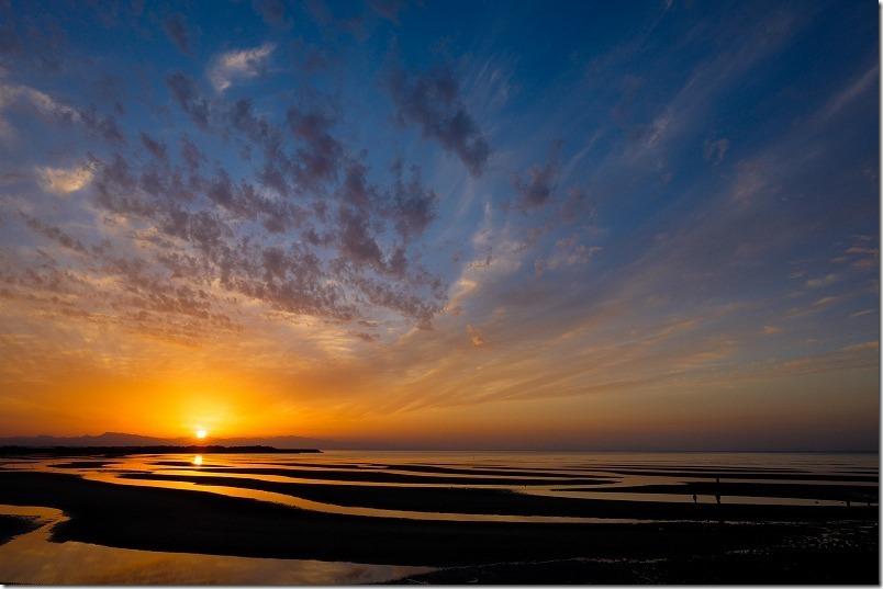 海と夕日をXF14mmで撮影