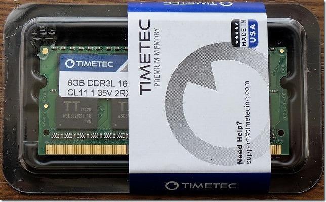 メモリはTIMETEC,8GB,DDR3L,1600,1.35V,PC3,12800,1.35v,204Pin