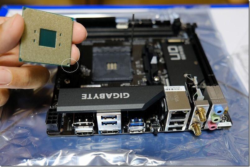 GIGABYTE,A520I,AC,ITXへCPU取り付け。RYZEN3100