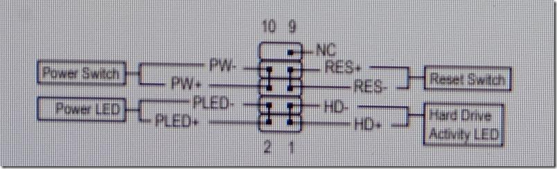 GIGABYTE,A520I,ACへフロントパネルケーブルを取り付け図