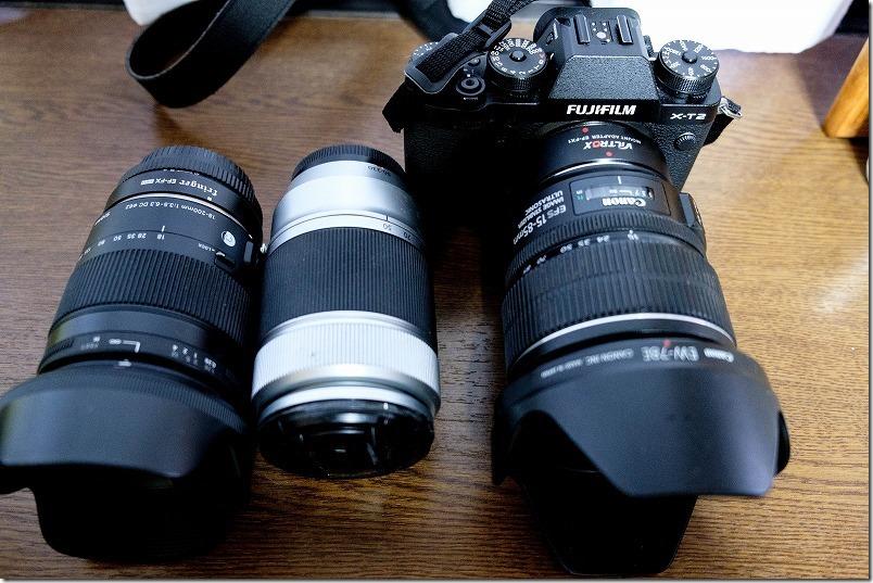 CANON,EF-S,15-85mmの大きさ比較(マウントアダプタ装着時)